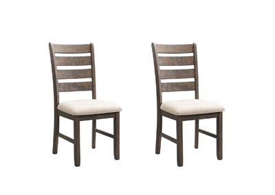 Image for Smokey Walnut/ Cream Upholstery Jax Ladder Back Side Chair [Set of 2]
