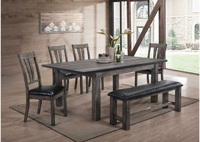 Nathan  Grey Oak Dining Table w/Bench&4Chair