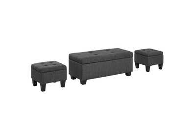 Image for Ethan 3PK Storage Ottoman in Charcoal