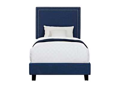 Image for Blue Erica Upholstered Twin Platform Bed