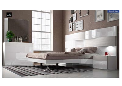 Image for Cordoba Beige & White King Storage Bed W/ Dresser & Mirror