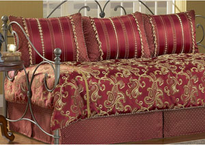 Crawford Merlot Twin Pillow & Bedding Set (Daybed), 5-Piece