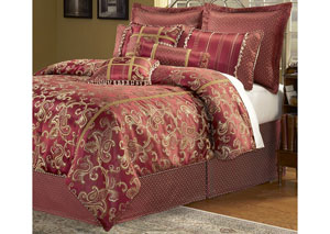 Crawford Merlot California King Pillow & Bedding Set, 11-Piece
