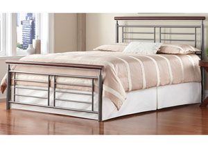 Fontane Silver Metal & Cherry California King Bed
