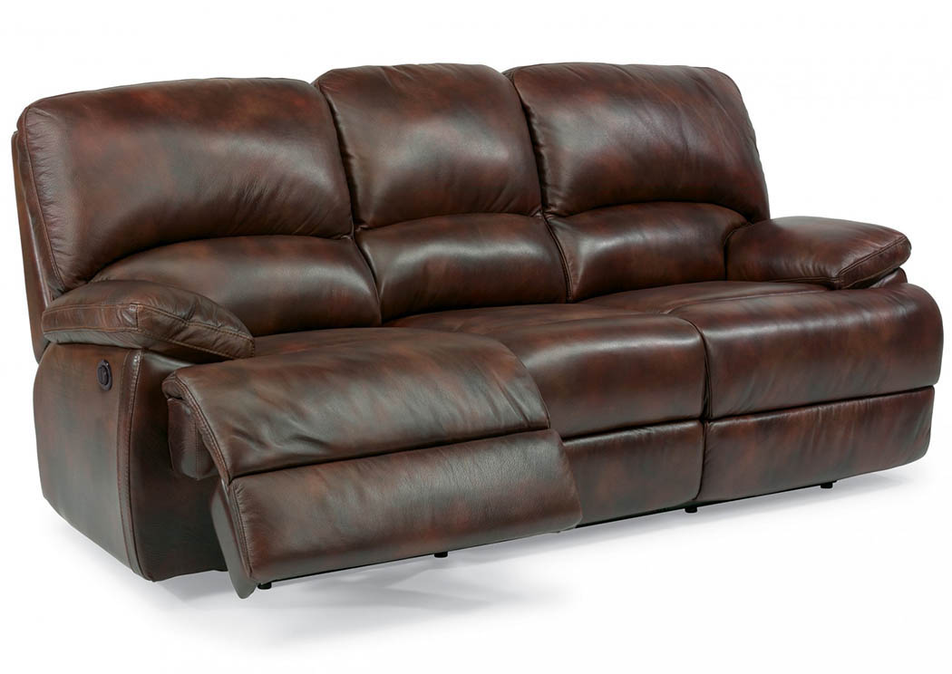 Dylan Leather Three Cushion Power Reclining Sofa W/Chaise  Footrests,Flexsteel