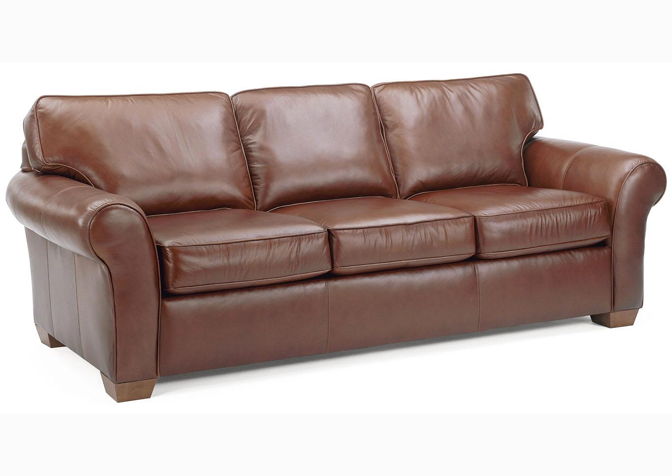Incroyable Vail Leather Three Cushion Sofa,Flexsteel