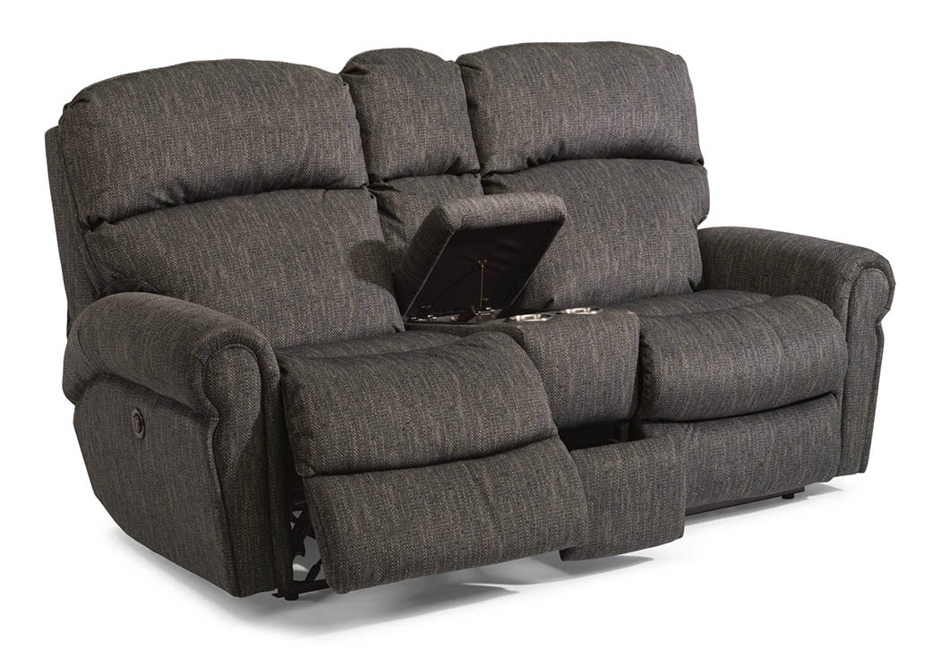 Ivan Smith Langston Fabric Power Reclining Loveseat W Console