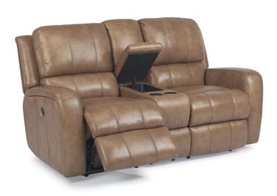 Hammond Leather Power Reclining Loveseat w/Console