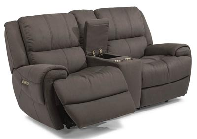 Nance Fabric Power Reclining Loveseat w/Console & Power Headrests