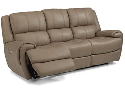 Nance Leather Power Reclining Sofa w/Power Headrests