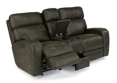 Tomkins Fabric Power Gliding Reclining Loveseat w/Console & Power Headrests