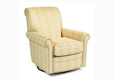 Plaza Fabric Swivel Glider w/Nailhead Trim