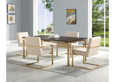 Image for Maya Ash & Gold 5 Piece Dining Set W/ 4 Chairs