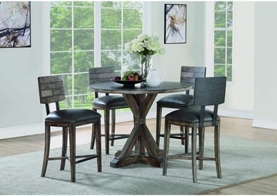 Image for Fulton Dark Grey Counter Height 5 Piece Dining Set W/ 4 Chairs