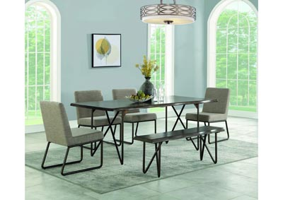 Image for Shadow Tan & Distressed Grey 6 Piece Dining Set W/ 4 Chairs, Bench