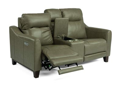 Image for Forte Mushroom Power Reclining Loveseat with Console & Power Headrests