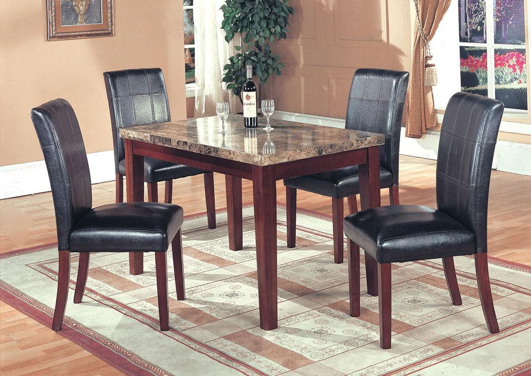 Marble U0026 Espresso Small Table U0026 4 Chairs,Fash N Home