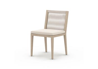 Image for Natural Teak + Faye Sand + Grey Rope Solano Sherwood Outdoor Dining Chair, Washed Brown