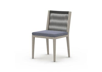 Image for Weathered Grey + Faye Navy + Dark Grey Rope Solano Sherwood Outdoor Dining Chair, Weathered Grey