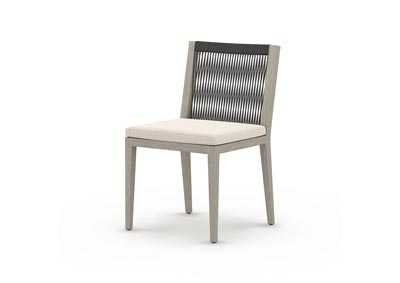 Image for Weathered Grey + Faye Sand + Dark Grey Rope Solano Sherwood Outdoor Dining Chair, Weathered Grey