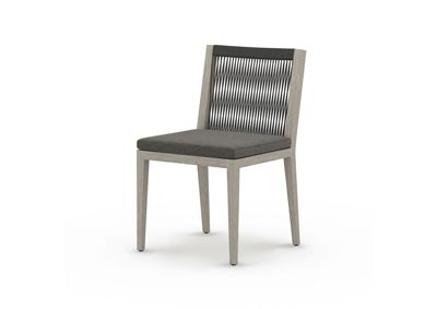 Image for Weathered Grey + Charcoal + Dark Grey Rope Solano Sherwood Outdoor Dining Chair, Weathered Grey