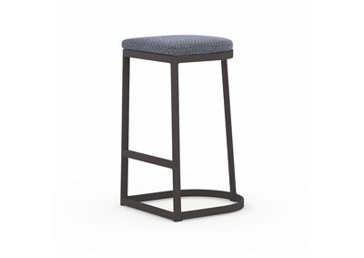 Image for Washed Brown + Bronze + Faye Navy Solano Val Outdoor Bar + Counter Stool
