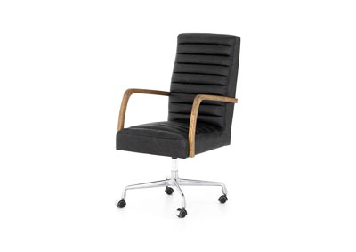 Image for Stainless Steel + Durango Smoke + Toasted Nettlewood Abbott Bryson Channeled Desk Chair-Smoke