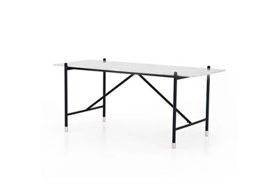 Image for Distressed Black + Polished Stainless Steel + White Terrazzo Bishop Mona Desk-White Terrazzo