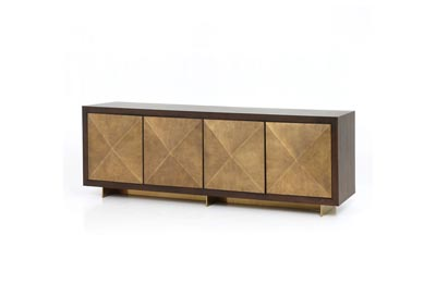 Image for Bright Brass Clad + Dark Walnut + Polished Brass Hughes Enzo Sideboard