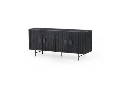 Image for Washed Black + Bluestone + Brushed Gunmetal Hughes Laverne Sideboard-Bluestone