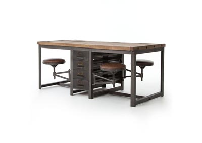 Image for Rustic Black + Brown Leather + Waxed Bleached Pine Hughes Rupert Work Table