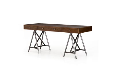 Image for Spiced Oak Solid + Brushed Gunmetal Hughes Lilith Desk-Spiced Oak