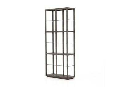 Image for Slate Grey + Tempered Glass Hughes Godfrey Bookshelf-Slate Grey