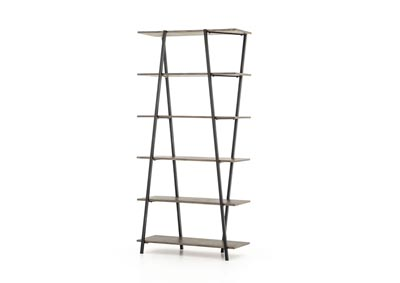 Image for Dusty Grey + Powder Black Hughes Saylor Bookshelf-Dusty Grey