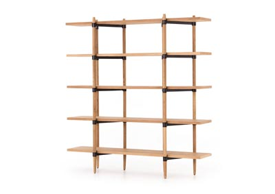 Image for Smoked Drift Oak + Waxed Black Irondale Holmes Bookshelf-Smoke Drift Oak