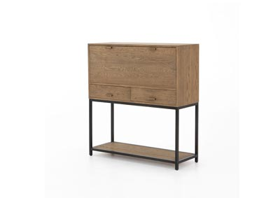 Image for Waxed Black + Antique Brass + Drifted Oak Irondale Jace Secretary Desk-Drifted Oak