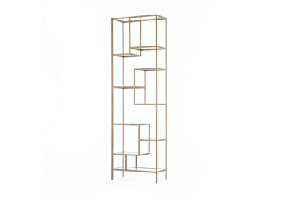 Image for Antique Brass + Tempered Glass Irondale Helena Brass Bookcase