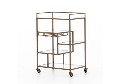 Image for Antique Brass + Tempered Glass Irondale Helena Bar Cart