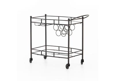 Image for Gunmetal + Tempered Glass + Mirror Asher Coles Bar Cart-Gunmetal