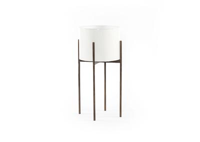 Image for White High Gloss + Weathered Brass Marlow Jed Planter