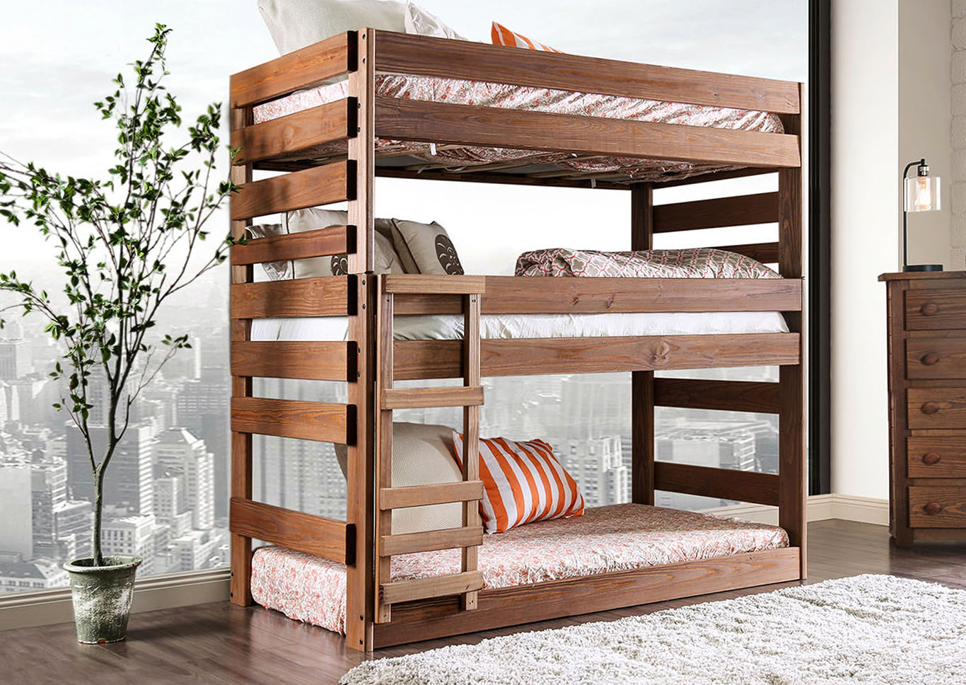 Pollyanna Twin Triple Decker Bed,Furniture of America