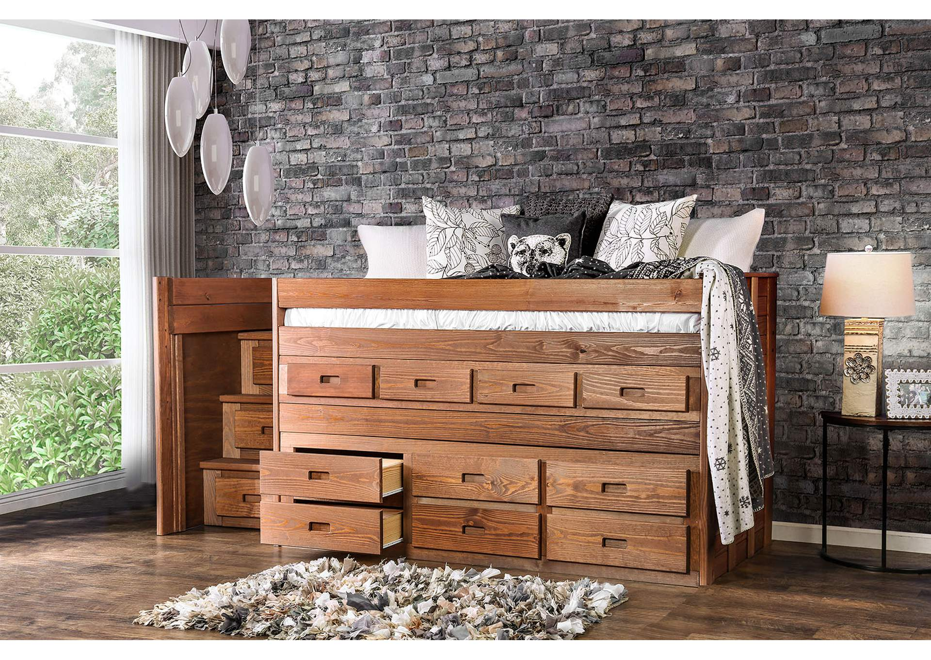 Cleo Mahogany Twin Captain Bed,Furniture of America