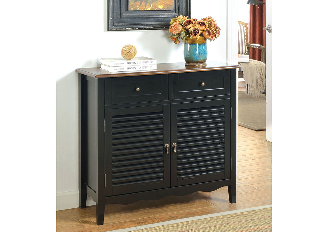 Brothers Fine Furniture Oleida Black Louver Design 2 Door U0026 2 Shelf Cabinet