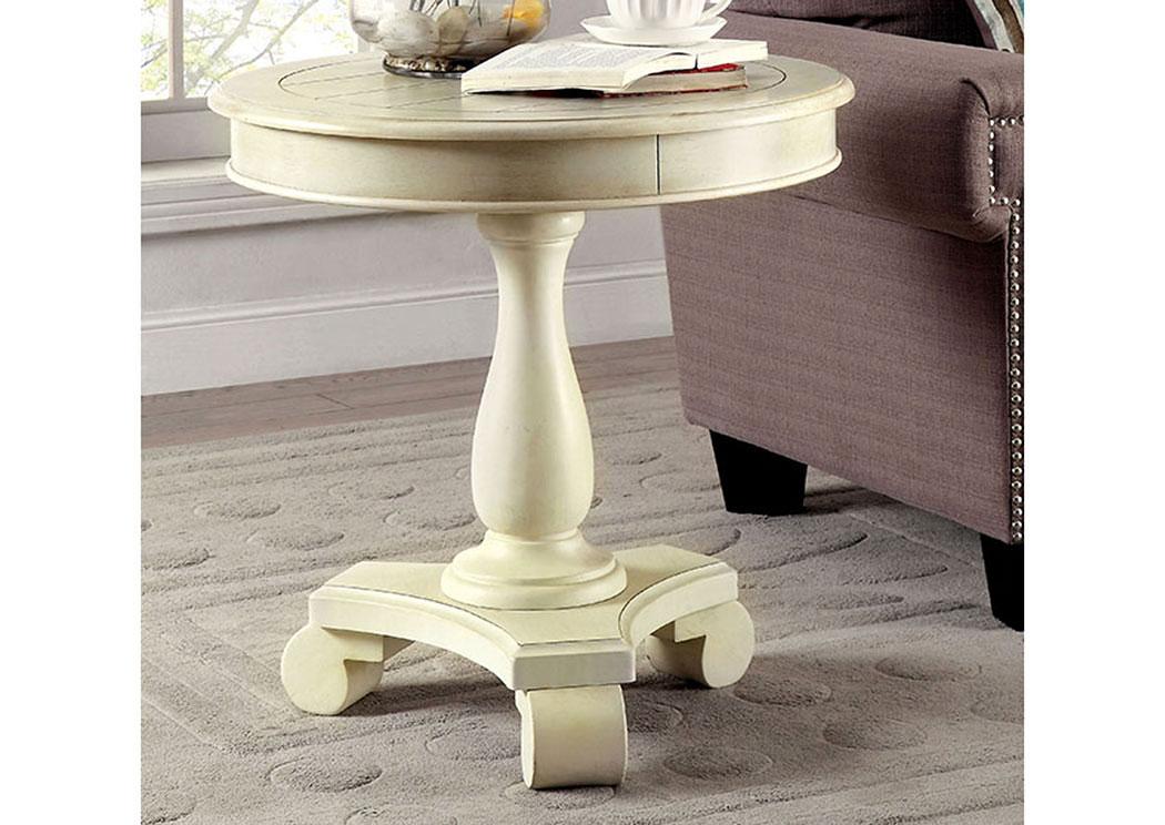 Kalea Antique White Round Accent Table,Furniture Of America