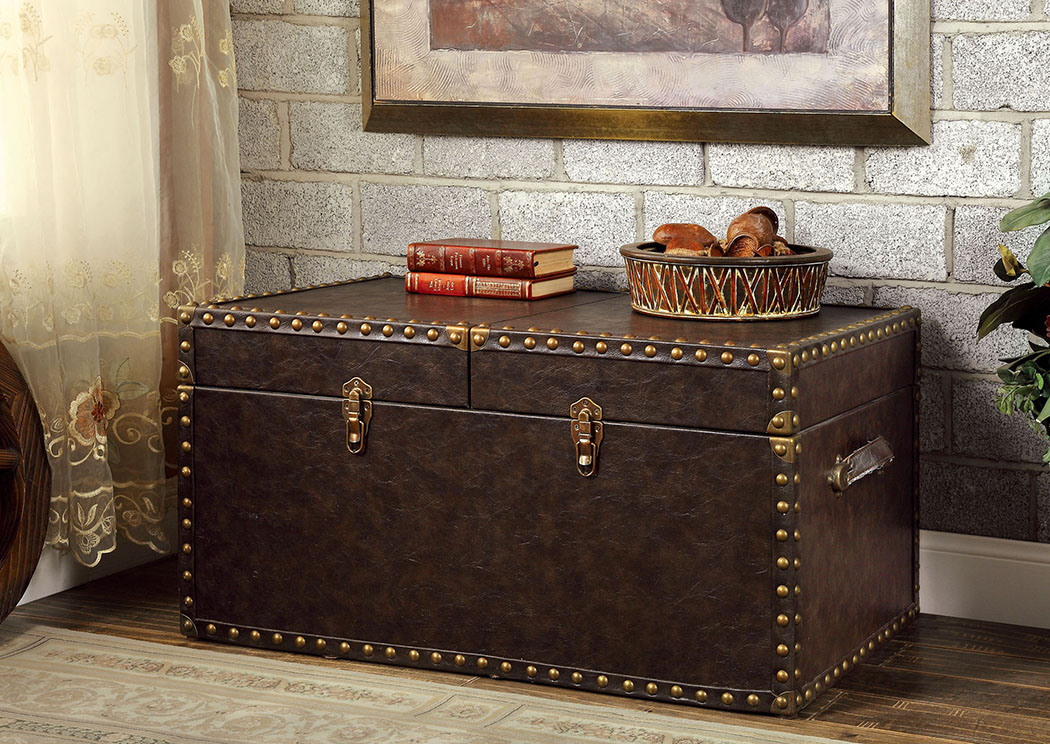 Brothers Fine Furniture Gemm Antique Brown Storage Trunk W/Nailhead Trim