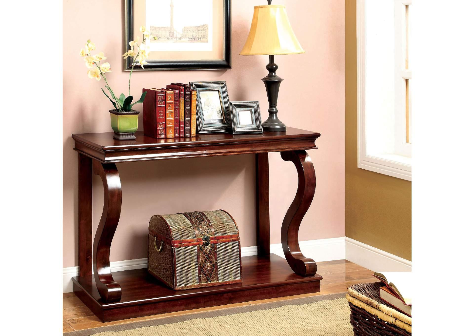 Geelong Cherry Console Table W/S Shaped Legs U0026 Open Shelf,Furniture Of