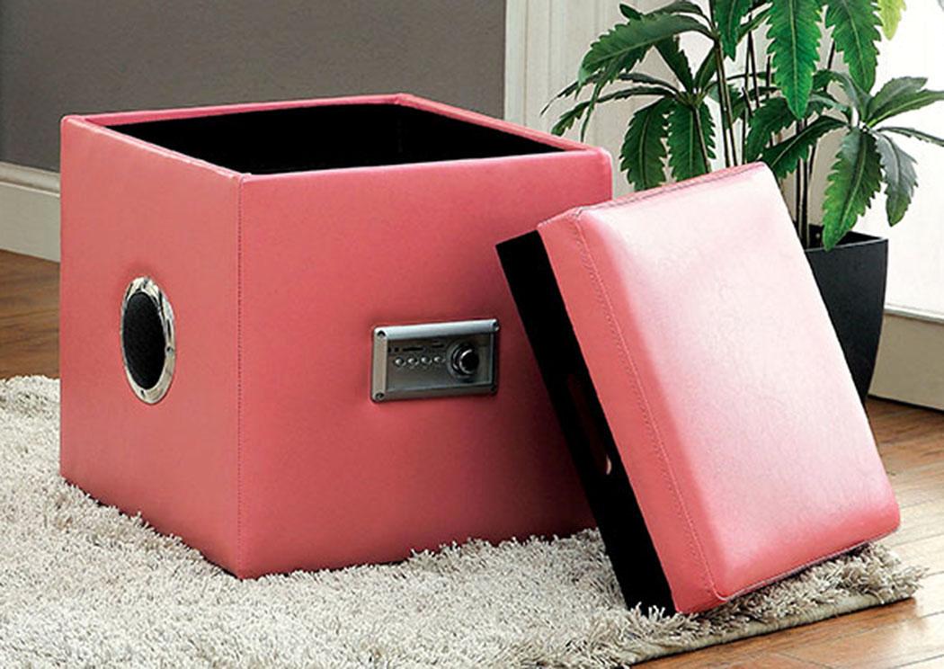 Pocket Friendly Furniture Armoni Pink Ottoman w/Storage
