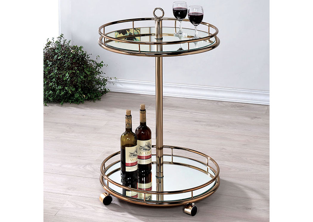 Trixie Champagne Serving Cart,Furniture of America TX