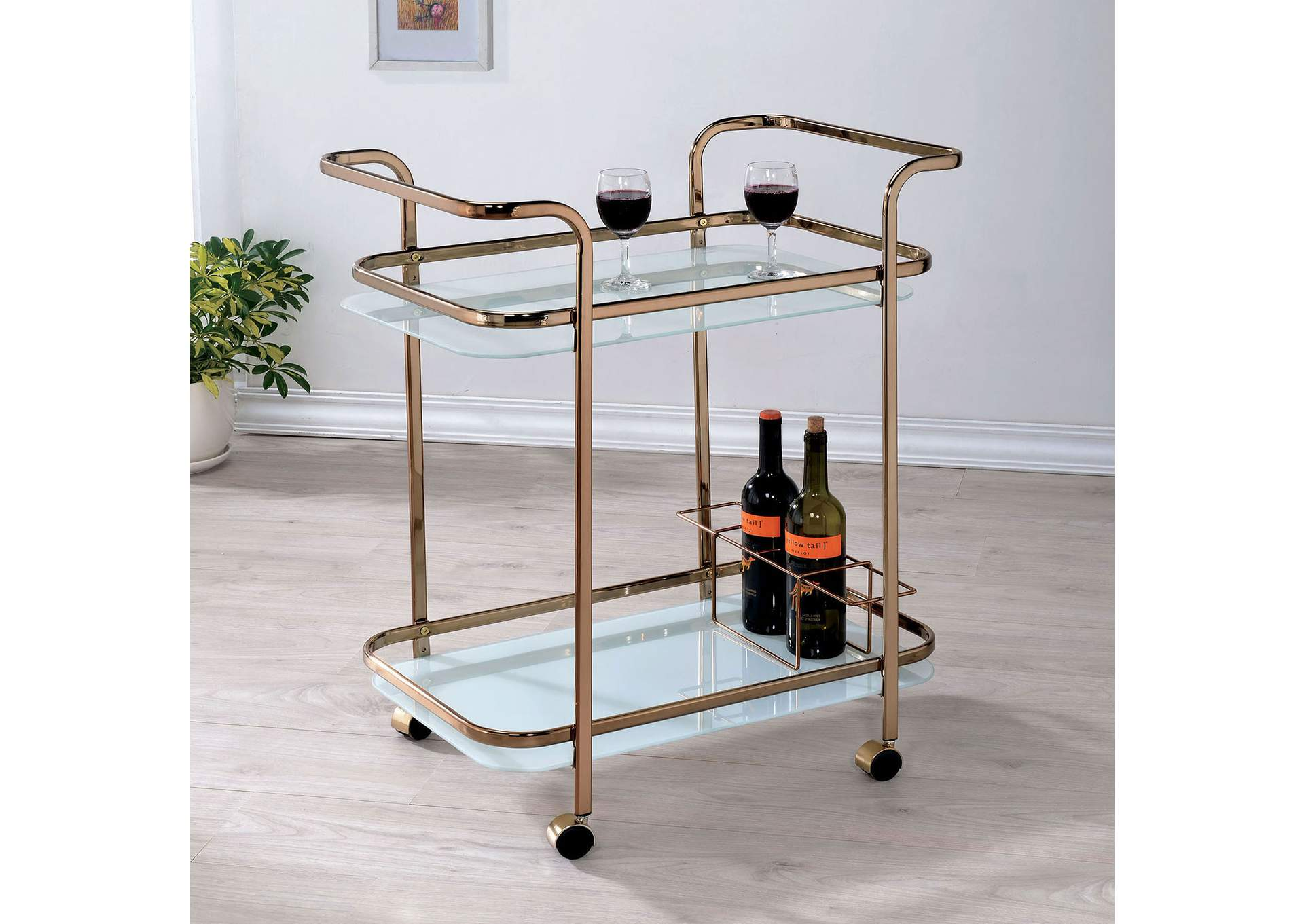 Tiana Champagne Serving Cart,Furniture of America TX