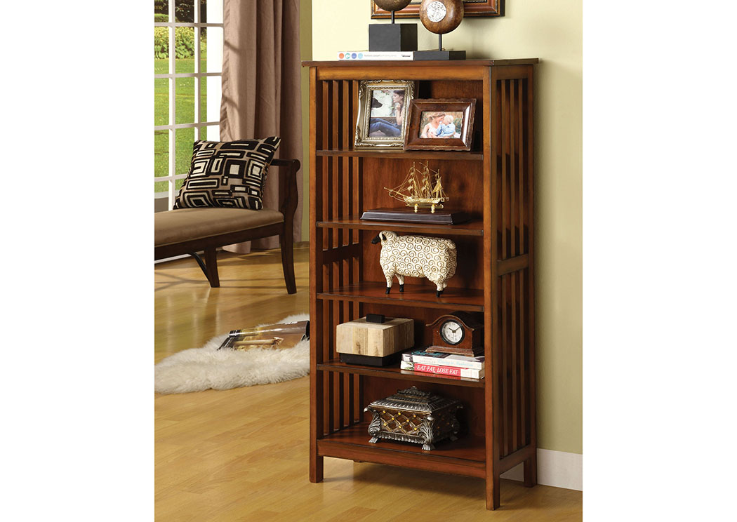 Valencia l Antique Oak Media Shelf w/5 Shelves,Furniture of America